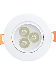 ZIQIAO 3W 3-LED 6500K 330lm High-power Downlight Ceiling Lights Cool White LED / Eye Protection / Adjustable 1 pcs