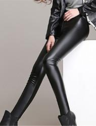 abordables -legging medio de color sólido de la manera de las mujeres, todo negro, fresco, cuero