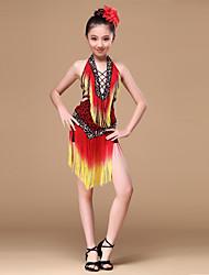 Robes Enfant Spectacle Chinlon Viscose Léopard Sans manche Taille moyenne