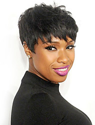 cheap -Natural Layered Short Straight Capless Wigs High Quality Human Hair