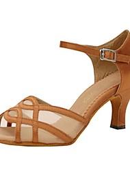 Scarpe da ballo-Personalizzabile-Da donna-Balli latino-americani / Jazz / Salsa / Scarpe da swing-Tacco su misura-Raso-Giallo