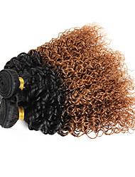 Cabelo Humano Cabelo Brasileiro Âmbar Enrolado Cacheado Extensões de cabelo 3 Peças Preto / Medium Auburn