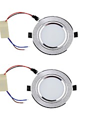 cheap -YouOKLight 2PCS 3W 300lm 3000K/6000K Warm White/White 6-SMD 5730 LED Ceiling Lamp - Silver (85265V)
