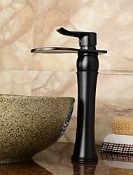 economico -Lavandino rubinetto del bagno - Saliscendi / Cascata / Separato Rame anticato Installazione centrale Una manopola Due fori