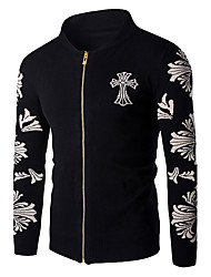 Men's Going out / Daily Casual JacketsSolid / Floral Stand Long Sleeve Spring / Cotton Thin hot sale