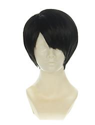 Недорогие -Искусственные волосы парики Прямой силуэт Без шапочки-основы Карнавальный парик Парик для Хэллоуина Парики для косплей Черный