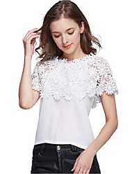 Women's Off The Shoulder|Lace Casual/Daily / Beach Sexy / Cute All Seasons Blouse,Solid Boat Neck Short Sleeve White Polyester Medium