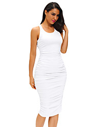 cheap -Women's Fitted Sexy Bodycon Racer Tank Dress