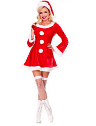 cheap -Women's Christmas Festival / Holiday Halloween Costumes Red Solid Colored