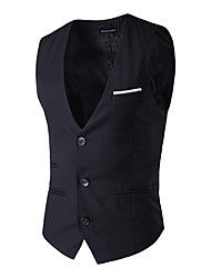 Business Ceremony Wedding Solid 100% Cotton Suit Vest with Buttons Pocket