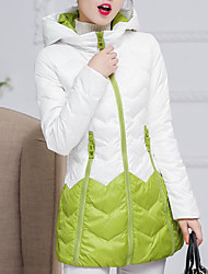 Feminino Casaco Capa,Simples Colorido Casual-Poliéster Penas de Pato Branco Manga Longa Verde / Roxo