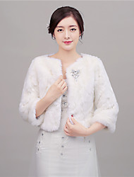 Women's Wrap Shrugs 3/4-Length Sleeve Faux Fur Ivory Wedding / Party/Evening Scoop 41cm Rhinestone Hidden Clasp