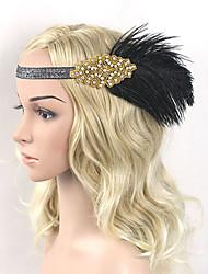 serre-tête en plumes de strass fleurs style féminin classique