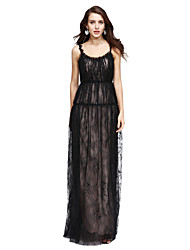 cheap -Sheath / Column Scoop Neck Floor Length Lace Celebrity Style Prom / Formal Evening Dress with Pleats by TS Couture®