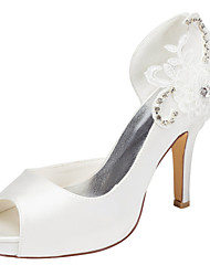 cheap -Women's Heels Spring / Summer Platform Stretch Satin Wedding / Party & Evening / Dress Stiletto Heel Crystal Ivory / White Others