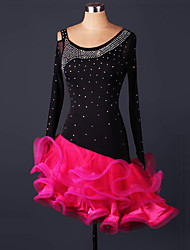cheap -Latin Dance Dresses Performance Spandex Lace Organza Ruffles Crystals/Rhinestones 1 Piece Long Sleeve High Dress