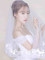 Wedding Veil Two-tier Elbow Veils Lace Applique Edge Tulle