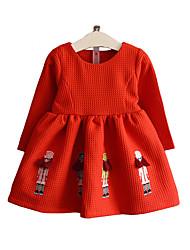 Robe Fille de Brodée Décontracté / Quotidien Coton Printemps / Automne Bleu / Rouge