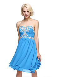 A-Line Sweetheart Knee Length Chiffon Homecoming Prom Dress with Beading Appliques by TS Couture®