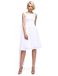 cheap -A-Line Jewel Neck Knee Length Chiffon Bridesmaid Dress with Draping by