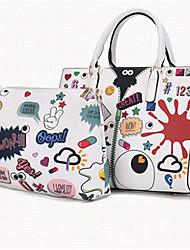 Women Bags All Seasons PU Bag Set for Casual White Black