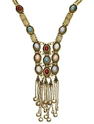 cheap -Women Bohemian Style Vintage Long Tassel Pearl Statement Necklace