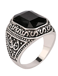 Men's Women's Ring European Synthetic Gemstones Resin Silver Plated Alloy Cross Jewelry For Wedding Party Daily Casual