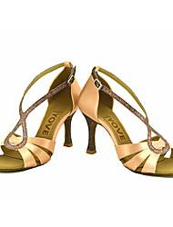 cheap -Women's Latin Salsa Satin Silk Sandal Heel Professional Performance Buckle Ribbon Tie Customized Heel Pink Blue Yellow Fuchsia Purple