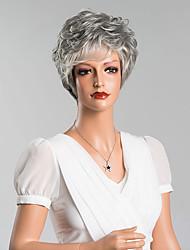 Недорогие -фигурная короткая монолитным парики верхнего качества человеческого седина смешанный цвет 8 inchs