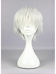 cheap -Popular Tokyo Ghoul Ken Kaneki 30cm Short Silvery Grey High Quality Synthetic Cosplay Wigs