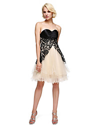 cheap -A-Line Strapless Short / Mini Lace Satin Tulle Charmeuse Cocktail Party Homecoming Prom Dress with Lace by TS Couture®