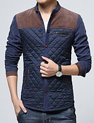 cheap -Men's Basic Cotton Jacket-Color Block
