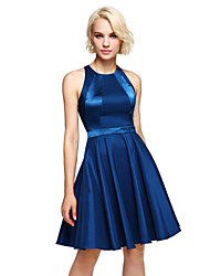 cheap -A-Line Jewel Neck Knee Length Stretch Satin Bridesmaid Dress with Sash / Ribbon by LAN TING BRIDE®
