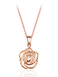 Elegant Style Silver Tone Rose Flower Hollow Pendant Necklace