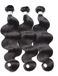 billige -3 Bundler malaysisk hår Krop Bølge Jomfruhår Menneskehår, Bølget Menneskehår Vævninger 8a Menneskehår Extensions