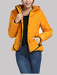 Hight Quality Women's Regular Padded CoatSimple Plus Size / Casual/Daily Solid-Polyester Polyester Long Sleeve HoodedBlue / Red / Black / Green /