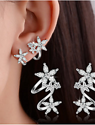 Women's Stud Earrings Clip Earrings Crystal Imitation Diamond Basic Double-layer Costume Jewelry Sterling Silver Heart Flower Leaf Jewelry