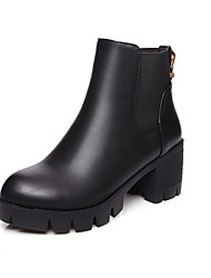 Mulheres Sapatos Couro Ecológico Inverno Outono Conforto Botas Salto Robusto Ponta Redonda para Casual Preto Marron