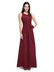 cheap -Sheath / Column Jewel Neck Ankle Length Chiffon Bridesmaid Dress with Bow(s) / Sash / Ribbon / Pleats by LAN TING BRIDE®