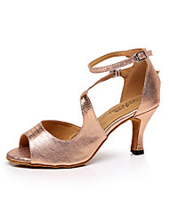 "cheap -Women's Latin Dance Sneakers Salsa Leather Sandal Indoor Professional Beginner Practice Appliques Stiletto Heel Pink Golden 2"" - 2 3/4"""