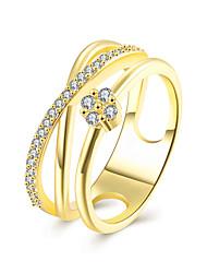 baratos -Mulheres Cristal Anel de banda / Anel de noivado - Zircão, Liga Coração 6 / 7 Dourado / Ouro Rose Para Casamento / Festa / Aniversário