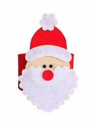 4 Pcs Christmas Santa Claus Napkin Ring Serviette Holders Table Xmas Decor Restaurant