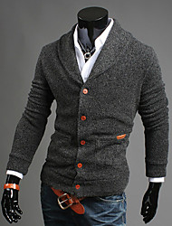 Men's Going out Casual/Daily Simple Regular Cardigan,Solid Long Sleeves Cotton Fall Winter Medium Stretchy