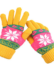 Ms Winter Wool Knitting Warm Gloves (Yellow)