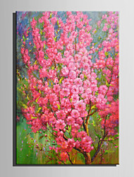 cheap -Mini Size E-HOME Oil painting Modern Pink Flowers Full Of Trees Pure Hand Draw Frameless Decorative Painting