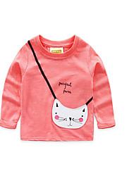 T-shirt Girl Casual Tinta unita Cotone Autunno Rosa