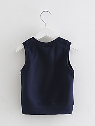 cheap -Boy's Cotton Fashion British Style Spring/Fall Daily Solid Color Fleece Gray Blue Vest