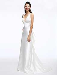 A-Line Plunging Neckline Court Train Satin Wedding Dress with Lace Ruffles Ruffle by LAN TING BRIDE®
