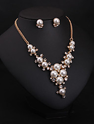 cheap -Women's Pearl Imitation Diamond Jewelry Set Earrings Necklace - Bridal Fashion Jewelry Set Necklace / Earrings For Wedding Party Daily