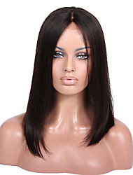 cheap -Remy Human Hair Full Lace / Glueless Full Lace Wig Straight / Yaki 130% Density Natural Hairline / African American Wig / 100% Hand Tied Women's Short / Medium Length / Long Human Hair Lace Wig
